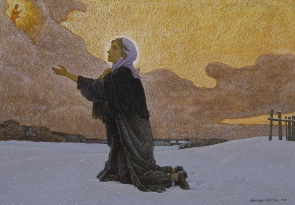 Ксения Петербургская молящаяся на пустыре